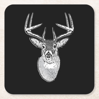 Buck on Black White Tail Deer head Square Paper Coaster