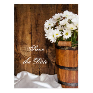 Bucket and Daisies Country Wedding Save the Date Postcards