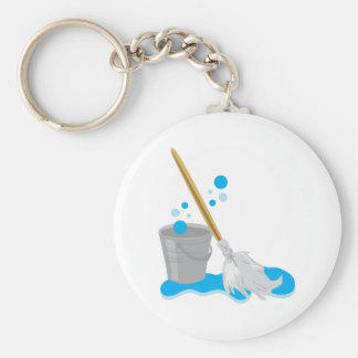 Bucket And Mop Basic Round Button Key Ring