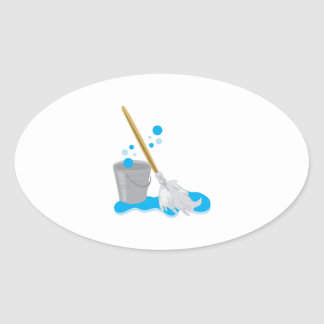 Bucket And Mop Oval Sticker