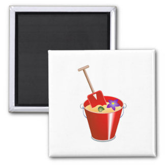 Bucket and Spade Square Magnet
