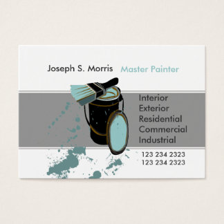Bucket & Brush Blue Paint Modern  House Painter Business Card