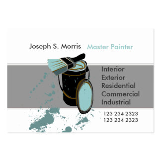 Bucket & Brush Blue Paint Modern  House Painter Pack Of Chubby Business Cards