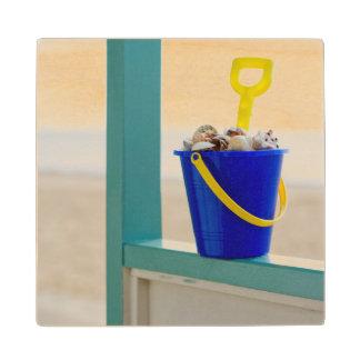 Bucket Filled With Seashells Wood Coaster