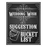 "Bucket List for wedding ""Leave a wedding Wish"" Poster"
