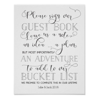 Bucket List Guestbook Sign