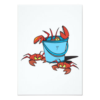 bucket of crabs 13 cm x 18 cm invitation card