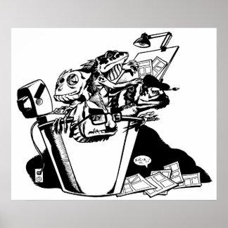 Bucket of Lizards Black White Print