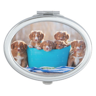 Bucket Of Puppies On The Beach Travel Mirrors