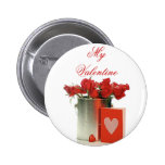 Bucket of Valentine's Day Red Roses Badge