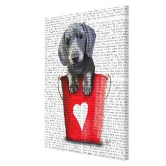Buckets of Love Dachshund Puppy Canvas Print