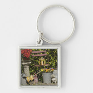Buckets, shoes, and flowers, Zaanse Schans, Silver-Colored Square Key Ring