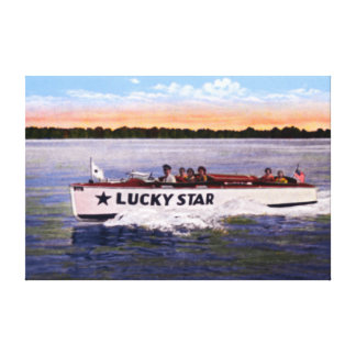 Buckeye Lake Ohio Lucky Star Motorboat Stretched Canvas Print