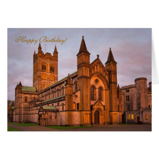 Buckfast Abbey and Golden Sunset Greeting Card