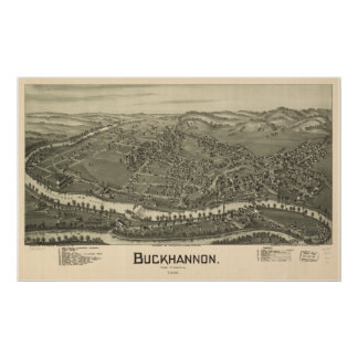 Buckhannon West Virginia 1889 Antique Panorama Poster
