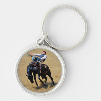 Bucking Bareback Bronco and Rodeo Cowboy #Gift Silver-Colored Round Key Ring