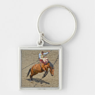 Bucking Bareback Bronco and Rodeo Cowboy #Gift Silver-Colored Square Key Ring