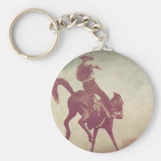 Bucking Bronco Basic Round Button Key Ring