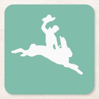 Bucking Bronco Bunny Square Paper Coaster