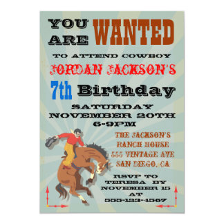 Bucking Bronco Cowboy Birthday Party Invitaiton 13 Cm X 18 Cm Invitation Card