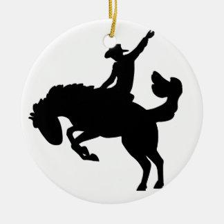 Bucking Bronco Rider Round Ceramic Decoration