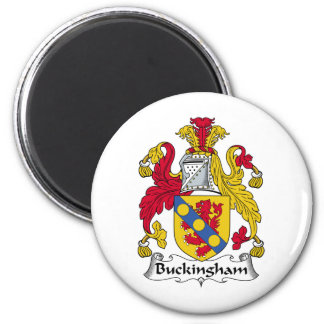 Buckingham Family Crest 6 Cm Round Magnet