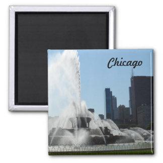 Buckingham Fountain - Chicago Square Magnet