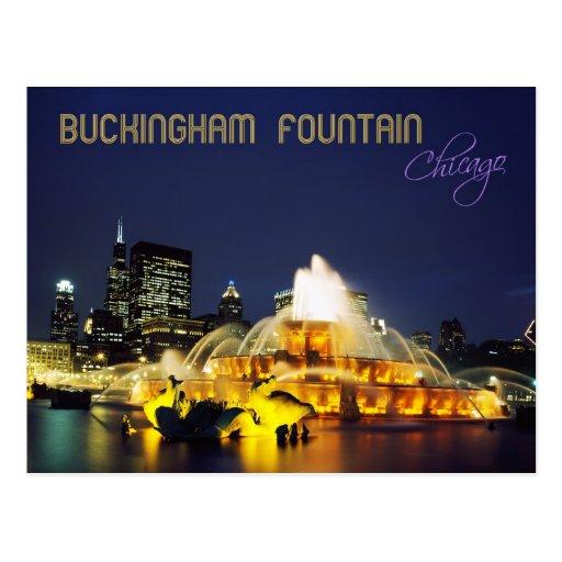 Buckingham Fountain illuminated, Chicago Post Cards