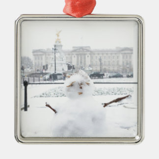 Buckingham Palace snowman London Silver-Colored Square Decoration
