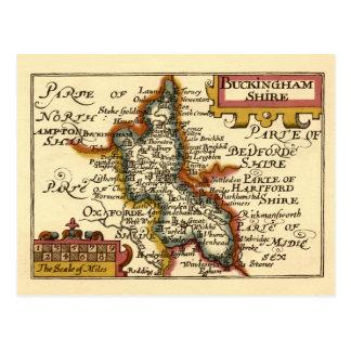 Buckinghamshire County Map, England Postcard