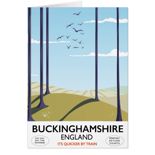 Buckinghamshire England railway travel poster Card