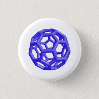 Buckminsterfullerene Molecule (Blue) 3 Cm Round Badge