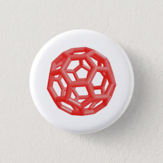 Buckminsterfullerene Molecule (Red) 3 Cm Round Badge
