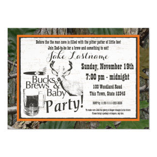 Bucks Beer and Baby Shower 13 Cm X 18 Cm Invitation Card