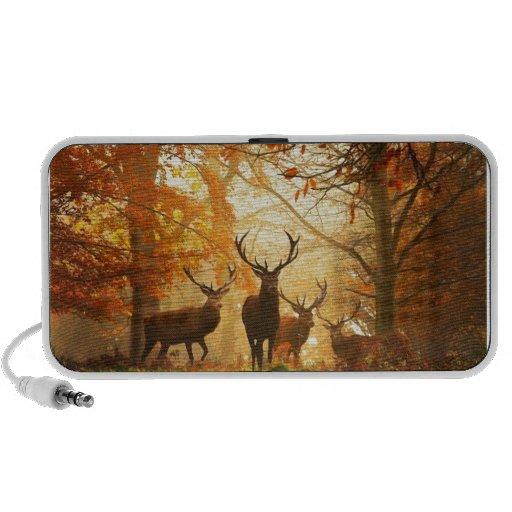 Bucks with Antlers Running Through Autumn Forest Laptop Speaker