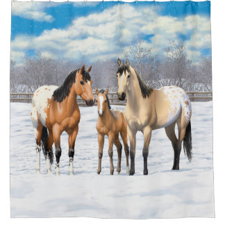 Buckskin Appaloosa Horses In Winter Pasture Shower Curtain