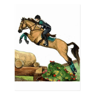 buckskin big leap xc HORSE ART Eventing Postcard