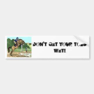 """Buckskin Horse Art """"Don't get toes wet"""" Bumper Sticker"""