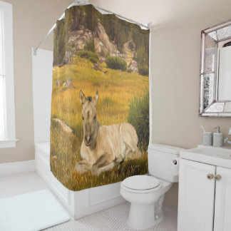 Buckskin Horse Foal Shower Curtain