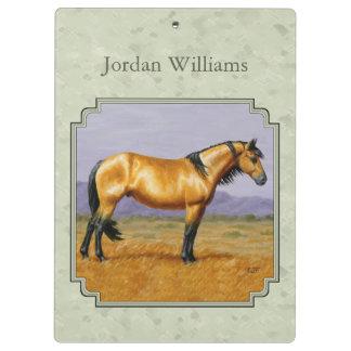 Buckskin Horse Mustang Stallion Sage Green Clipboard