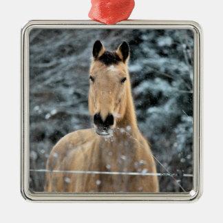 Buckskin Horse Winter Christmas Ornament