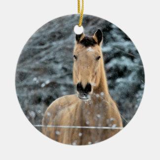 Buckskin Horse Winter Round Ceramic Decoration