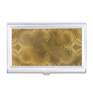 Buckskin Leather Art Deco Frame tan Business Card Holder