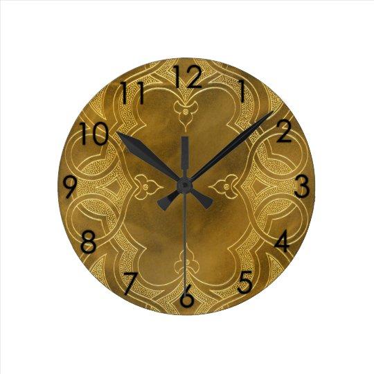 Buckskin Leather Art Deco Frame tan gold Wallclock