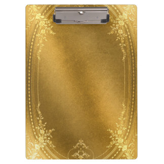 Buckskin Leather Victorian Frame tan gold Clipboards