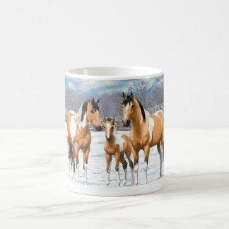 Buckskin Paint Horses In Snow Coffee Mug