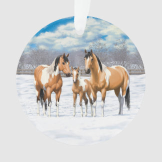 Buckskin Paint Horses In Snow Ornament