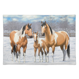 Buckskin Paint Horses In Snow Placemat
