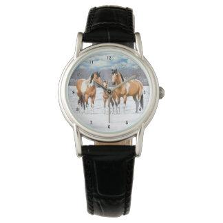 Buckskin Paint Horses In Snow Wrist Watches
