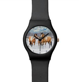 Buckskin Paint Horses In Snow Wristwatch
